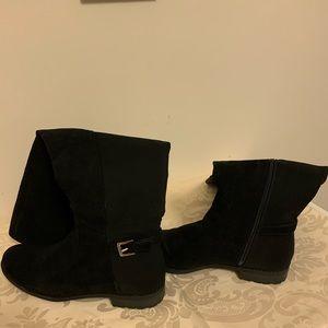 Liz Claiborne Black Microsuede High Knee Boots